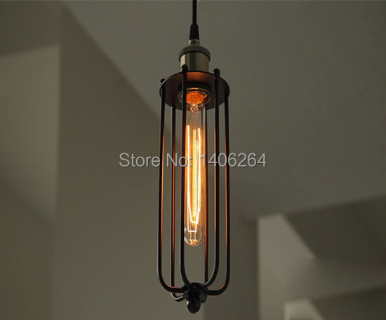 Vintage Metal Cage Shade Barn Pendant Light Rust Painted Finish Ceiling Lamp For Cafe Bar Hall Club Store Restaurant Balcony vintage edison metal chandelier hanging light black silver gold finish ceiling lamp for cafe bar hall coffee shop club store