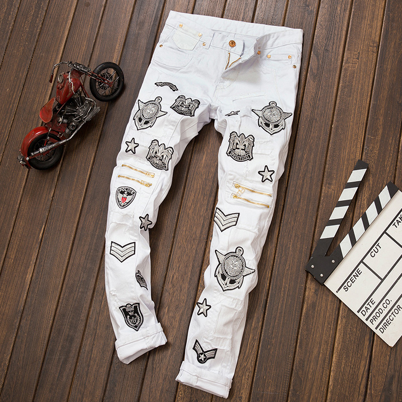 Hot 2016 New fashion white men jeans ripped biker pants European and American Bar DJ style