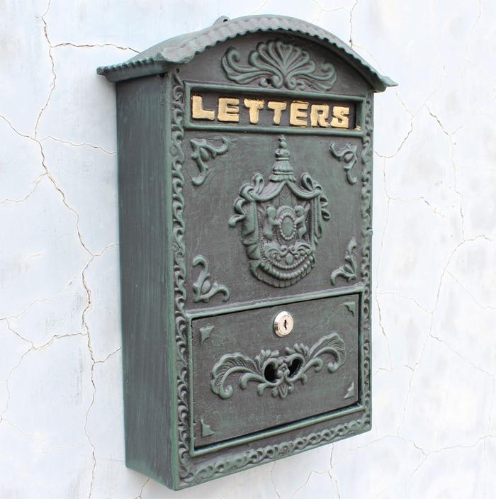 Cast Aluminum Mailbox Mail Box Dark Green Wall Mount Outdoor Garden Decoration Metal Vintage Home Apartment Letters Box Lockable