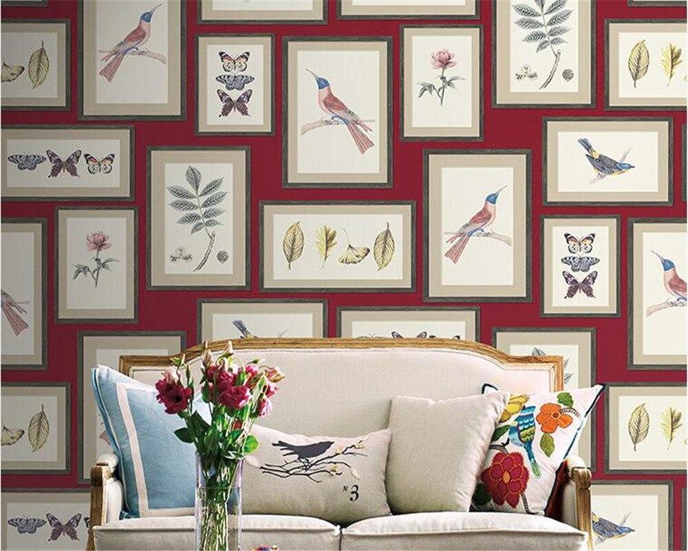 Beibehang cadre photo fleur et oiseau comme papier peint 3d salon bureau art style nordique papier peint mural pour murs 3 d