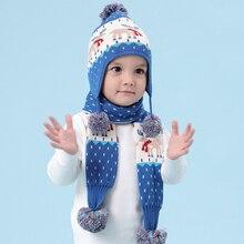 Детская зимняя шапка, толстая шапка с рисунком оленя+ шарф, комплект, теплая шапка для девочек, Детский Рождественский подарок, реквизит для фотосессии BMZ88