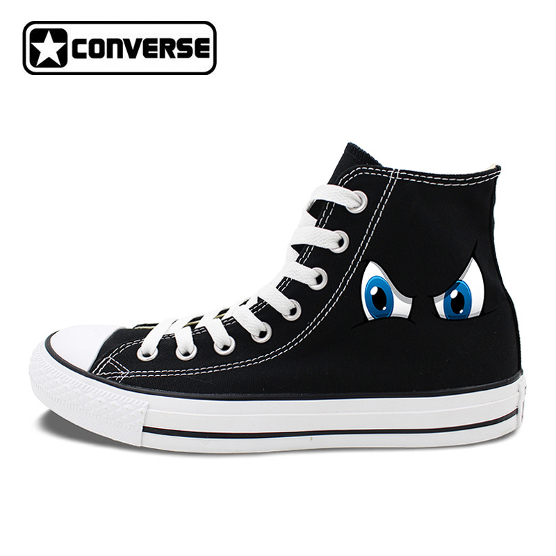Original Design 2 Colors Converse All Star Shoes Cartoon Eyes High Top Canvas Sneakers White Black Chuck Taylor цена