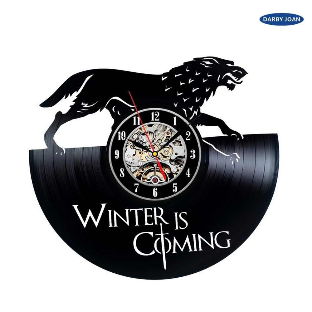لعبة من عروش خمر ساعة حائط فينيل ديكور هدية ، سات ساعة تنبيه reloj كبير