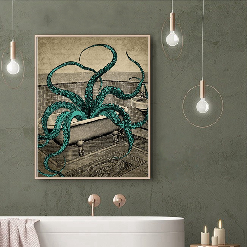 Octopus Canvas Poster Bath Wall Art Print Painting Octopus In The Bath Sea Life Art Picture Bathroom Wall Decoration