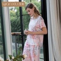 1850 הקיץ 2018 של הגברת חדשה Qianxiu רגוע מזדמן חליפת פיג 'מה עם שרוולים קצרים דגמי תשעה מכנסיים פיג' מה מודאלית