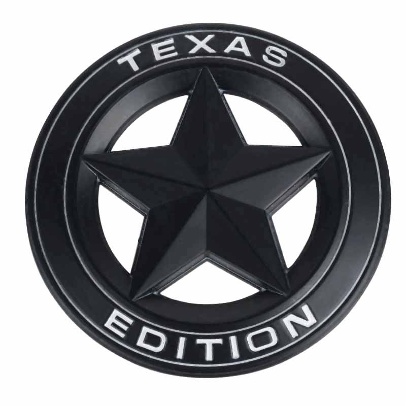 1PC Black Metal TEXAS EDITION Emblem Shield Star Badge Car Body Side Decal Sticker for Chevy Dodge Car Decorative new mf8 eitan s star icosaix radiolarian puzzle magic cube black and primary limited edition very challenging welcome to buy