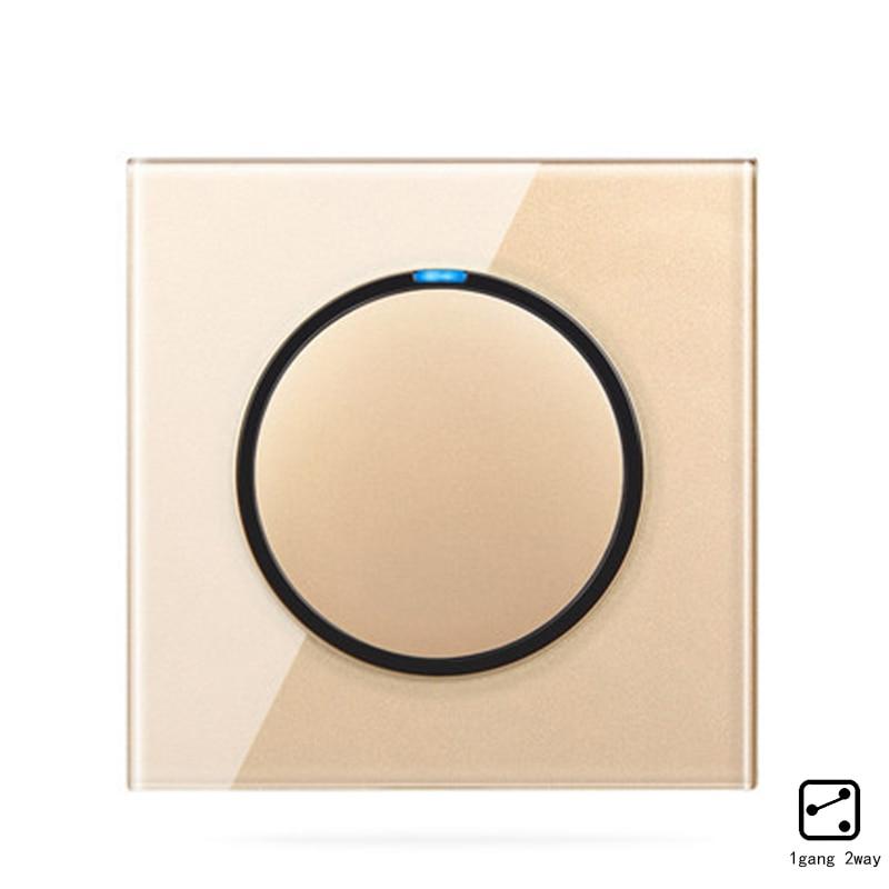 2019 Mode Minitiger Crystal Glass Panel 1 Gang 2 Way Willekeurige Klik Drukknop Muur Touch Light Switch Met Led-indicator