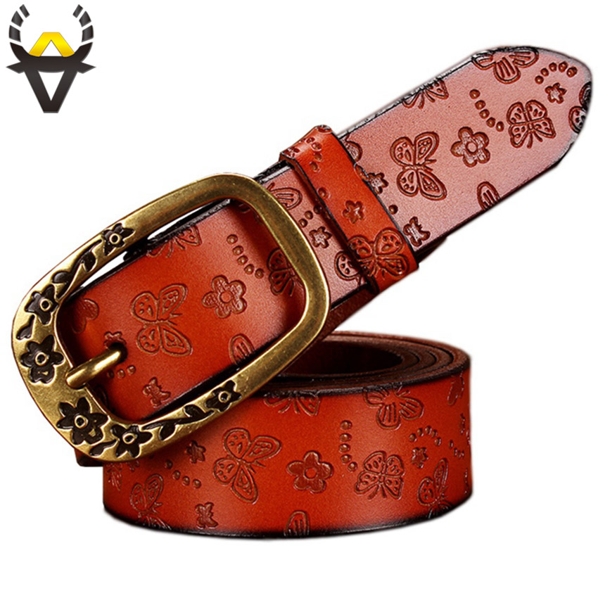 Butterfly Genuine Leather Belts for Women Fashion Vintage Floral Pin Buckle belt woman Quality Second Layer Cowskin strap female
