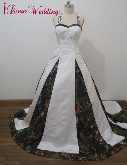 65d50a3832f iLoveWedding Ball Gown Camo Wedding Dresses Sleeveless Halter Lace Up Camouflage  Appliques Sequined Bridal Gowns Custom CA9