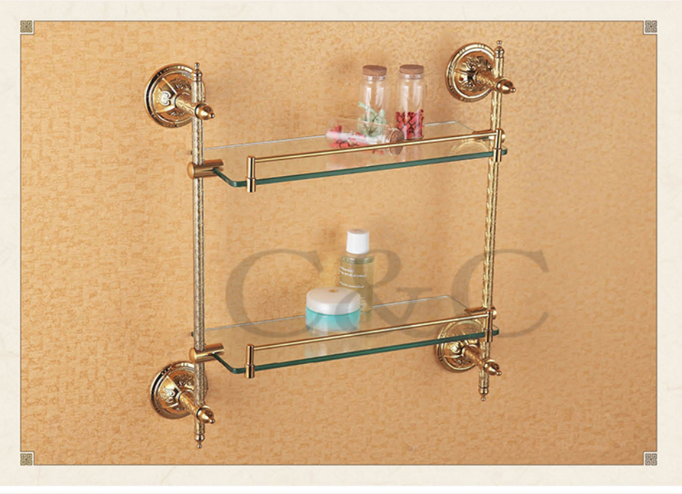 Noble And Elegant Solid Brass And Glass Gold Plating Bathroom Double Towel Rack Holder 1214