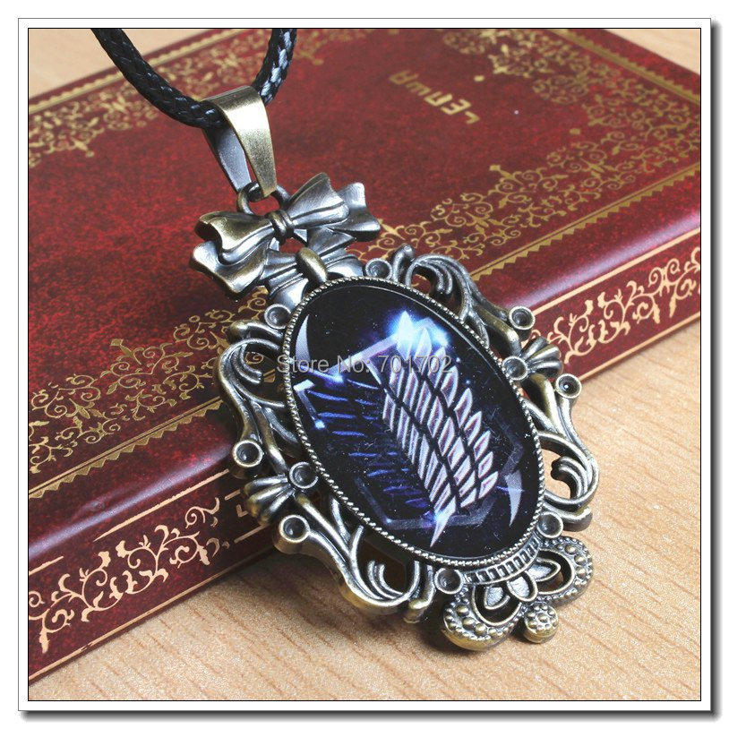 Attack Titan Stainless steel Comics Movie Game Cartoon Vintage Retro Chain Necklace Pendant Carving (WX053) - Magic_Park store