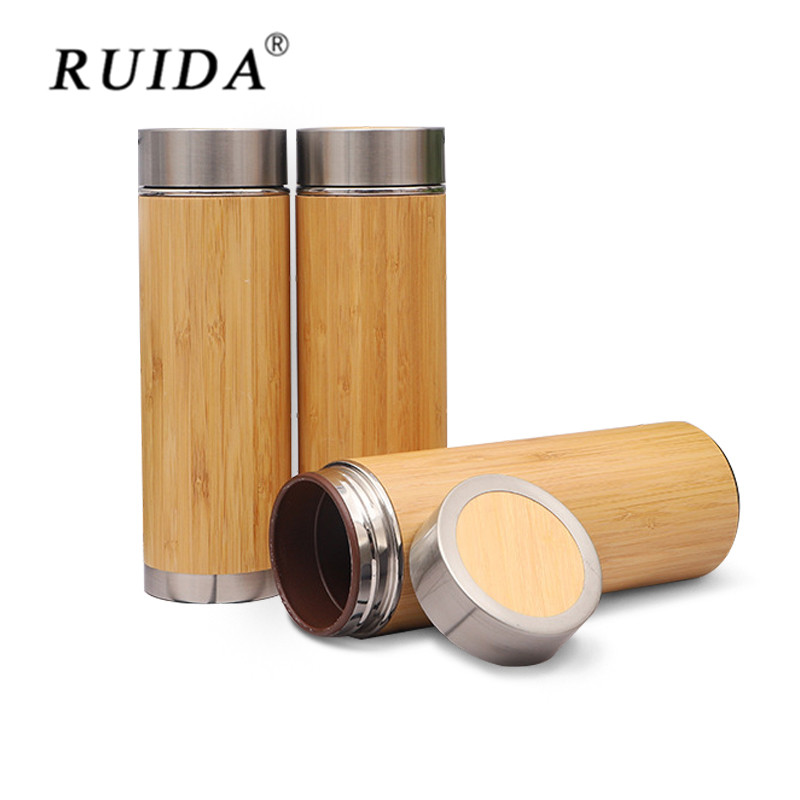 New Stainless Steel Thermal Cup Purple Sand Ceramics Liner Vacuum Bottle Thermos Bamboo Flask 500 ml