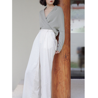 LYNETTE'S CHINOISERIE Spring Autumn Women High Waist Safari Style Handsome Corduroy Pants Wide Leg White Cotton Trousers