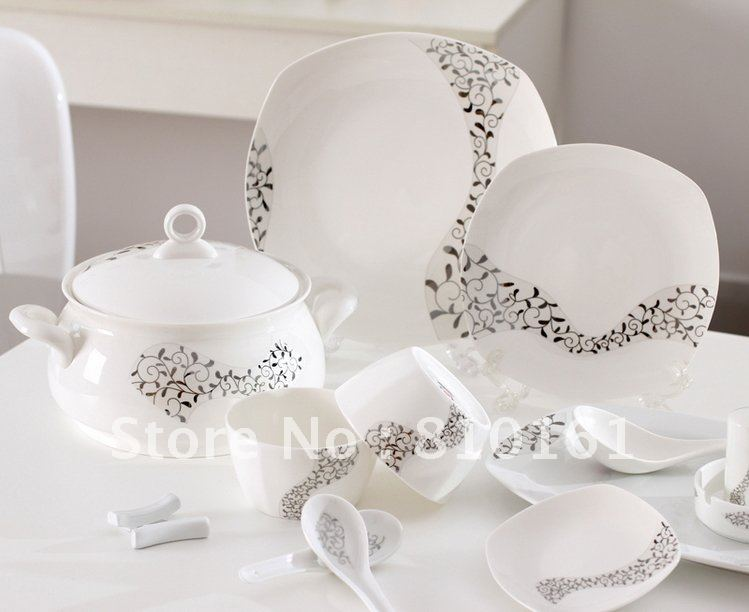 bone china 56PCS! cutlery set tablewaredinnerware setpottery bowlsdishes plateschina wedding dinnerware+free shipping-in Dinnerware Sets from Home ... & bone china 56PCS! cutlery set tablewaredinnerware setpottery bowls ...
