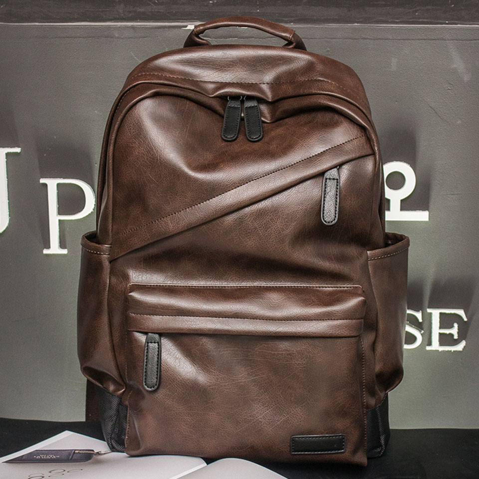 NEW Xtrend Brand Men Bagpack Backpacks Men's Fashion Backpack & Travel Male Bag PU Leather Men Backpack Cool Boys Solid Bags fashion rivet zipper solid women pu leather lady backpack multi function mini bagpack backpacks hb25 32