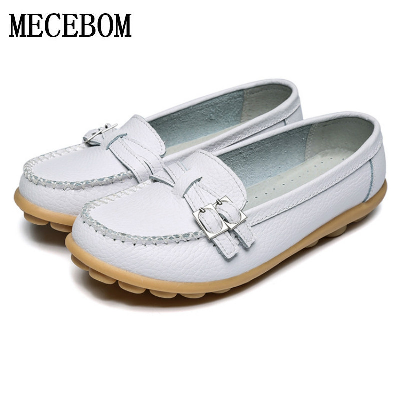 2018 Shoes Woman Leather Women Shoes Flats Colors Buckle Loafers Slip On Women's Flat Shoes Moccasins Plus Size ballet 1188W new abs chrome rear bumper cover trim for land rover range rover evoque 11 15