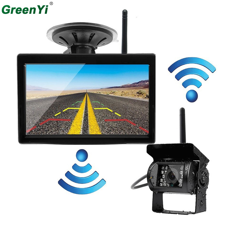 2 4GHZ Wireless Parking Reverse System Receiver 5 inch Backup Camera and Rearview Mirror Monitor Kit