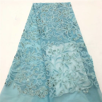 2018 Latest Blue African Laces Fabrics Embroidered African French Lace Fabric sequins African French Net tulle Lace RF4-80