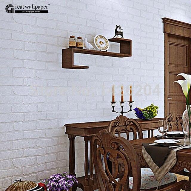 3D PVC Blanco Amarillo ladrillo pintado pared rollo de papel para ...
