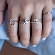 BOAKO Crystal Rings for Women Danity Ring Wedding Engagement Gold Party Jewelry Cubic Zircon Ring Thin Blue anillos mujer B5 trendy crystal ring wedding rings for women jewerly engagement ring rose gold rings female party jewelry gifts anillos mujer d40