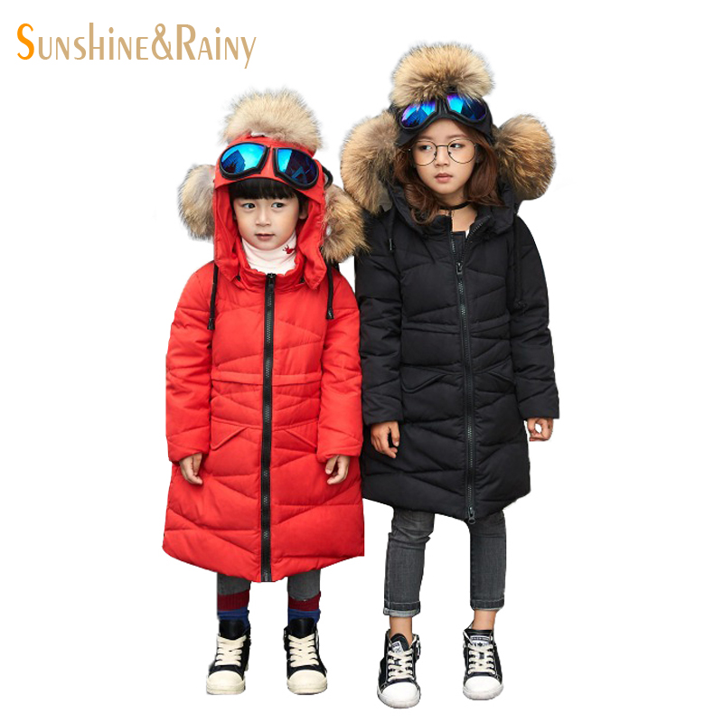 Designer Girls Boys Down Jackets With Glasses Cold Winter Kids Down Coats Fur Collar Children's Thick Warm Long Snow Parkas 4-13 russia winter boys girls down jacket boy girl warm thick duck down
