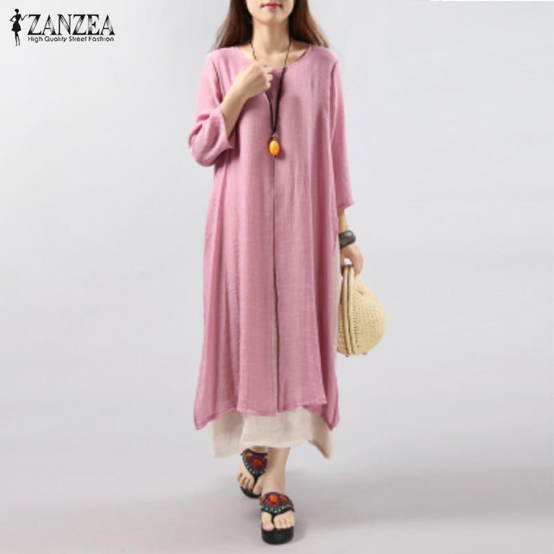 6 Colors ZANZEA 2016 Women Vintage Cotton Linen Dress ...