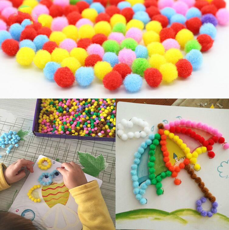 1 Pcs Baby Kids Creative DIY Plush Ball Painting Stickers Children Educational Handmade Material Cartoon Puzzles Crafts Toy
