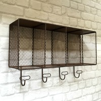 Metal Industrial Clothing Storage Unit Wall Mounted Clothes Shelf 4 Grids Coat Hooks Rack Durable Home Accessories