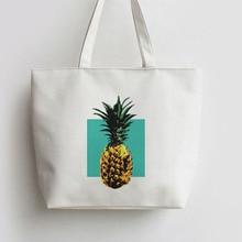 цена на Pineapple Canvas Shopping bag Cartoon Tote bags school Reusable Shopper Bag ,Grocery Bag AN081