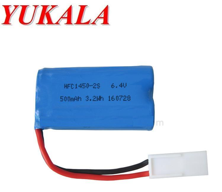 YUKALA 6.4V 500mAh Li-ion battery for XQWR14-1 14500-2s RC truck 2pcs/lot free shipping yukala 4 8 v 700mah n cd aa battery for rc car rc boat rc tank 2pcs lot free shipping