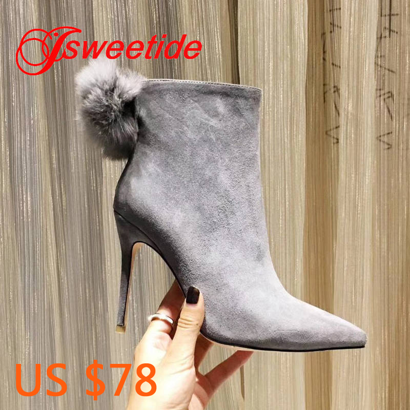 Women Genuine leather Boots Hair ball pointed Toe Heels pigskin inside Designer High Quality Fashion High