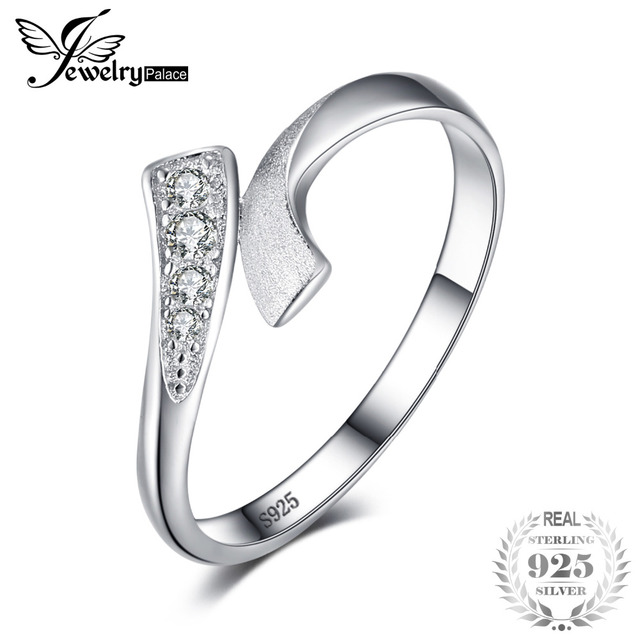 JewelryPalace Double Row Wrap Round Wedding Promise Ring For Women Pure 925 Ster