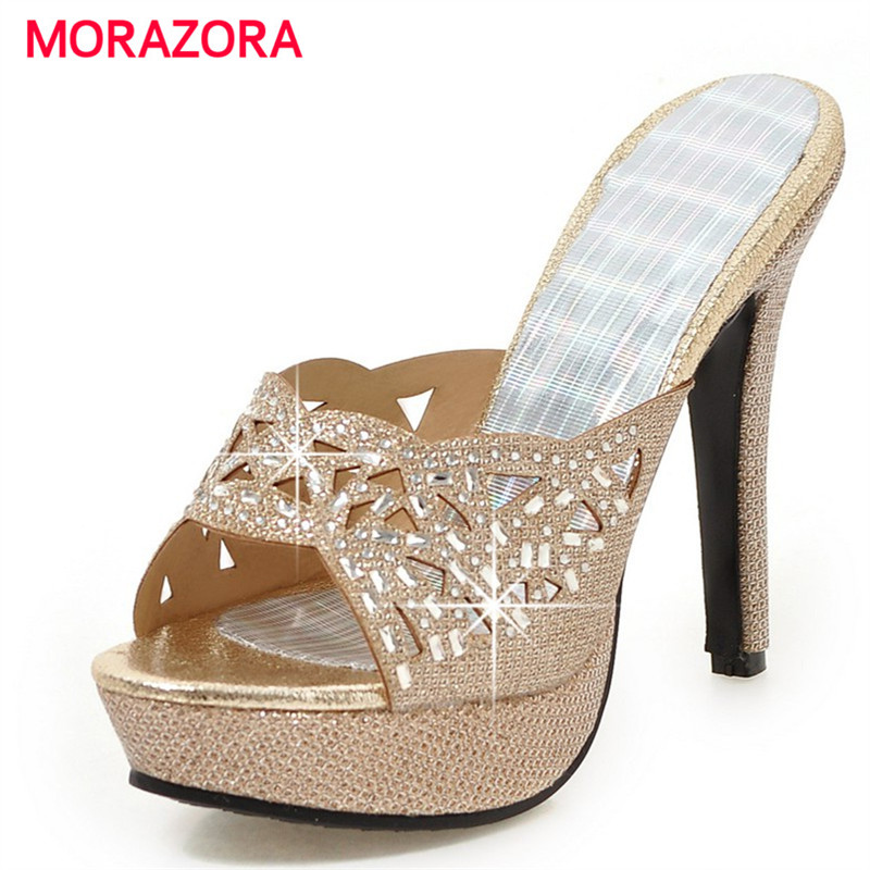 MORAZORA 2018 High heels shoes platform women sandals big size 33-43 summer fashion party shoes outside hot sale anmairon shallow leisure striped sandals women flats shoes new big size34 43 pu free shipping fashion hot sale platform sandals