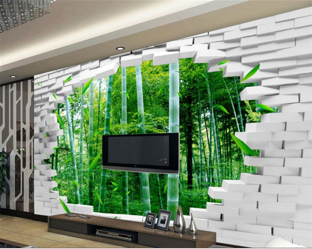 3d wall paper Beibehang Large Custom 3D Wallpaper Brick Wall Bamboo Wall TV Wall Decorative Painting wallpapers for living room Обои