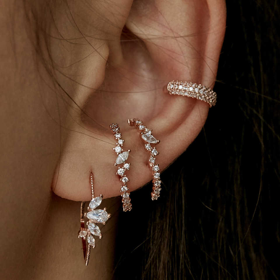 Memicu Bling CZ Cluster Stud Anting-Anting Baru Botton Telinga Bar Stud Fashion Perhiasan