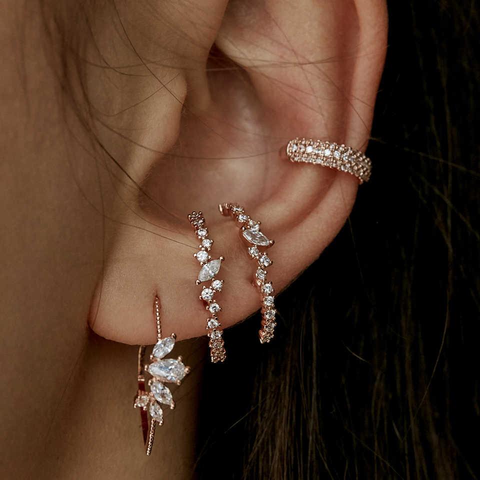 Gây nên Bling CZ cụm bông bông tai mới đầu in hình Botton tai thanh Bông trang sức thời trang