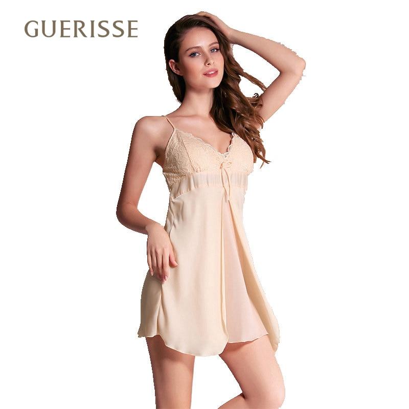 Summer sexy lingerie spring fashion nightdress comfort split skirt lace suspenders sleepwear women nightwear chest pad champagne