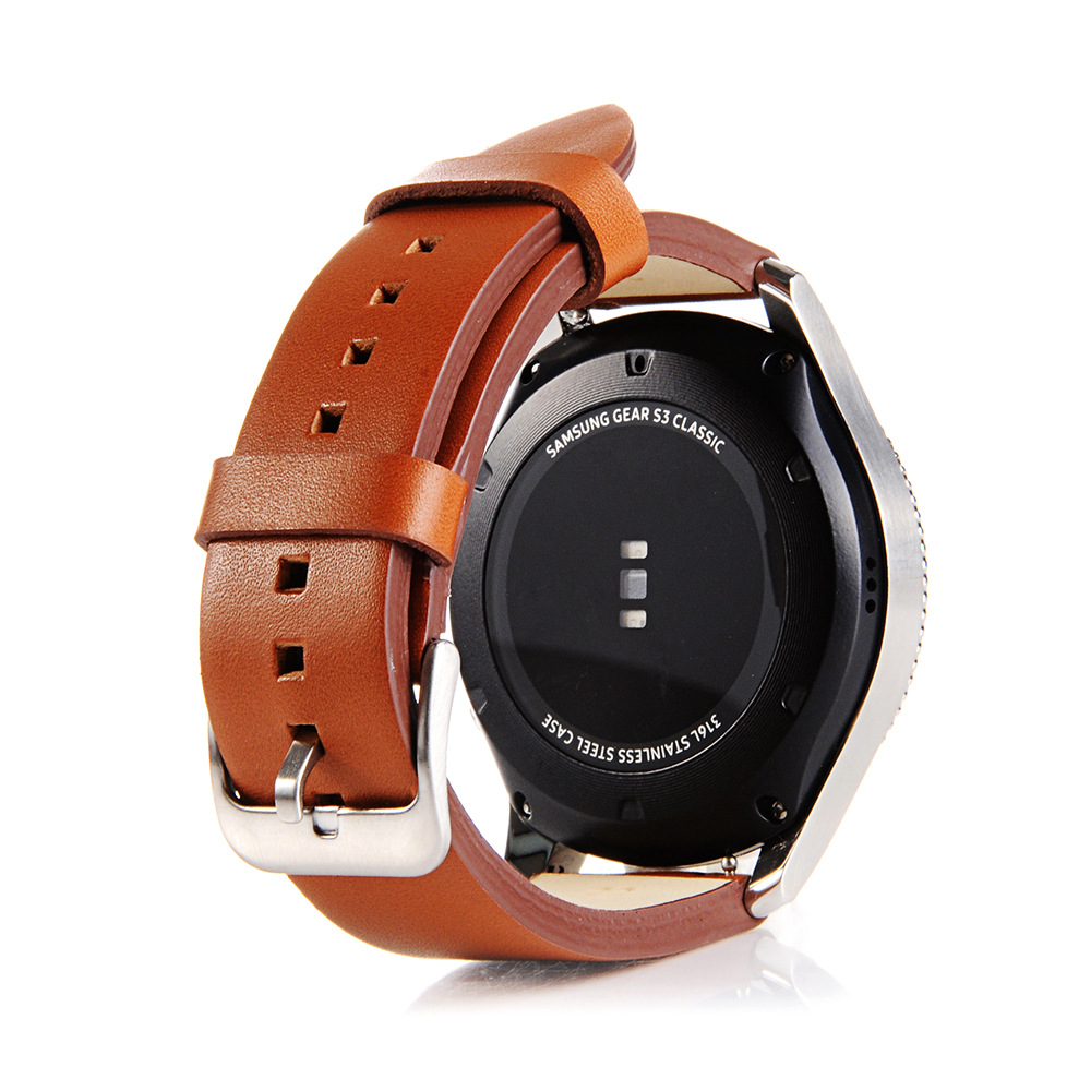 Newest 22mm Genuine Simple Leather Watch Band Strap For Samsung Gear S3 Classic Frontier Watchbands For Samsung Galaxy Watch in Watchbands from Watches