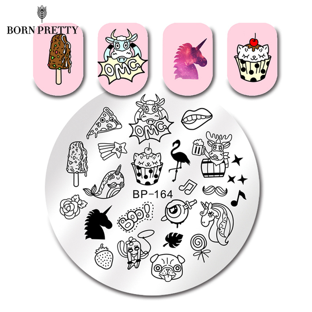 BORN PRETTY Round Nail Stamping Plate Flamingo Shinging Fruit Manicure Nail Art Image Plate