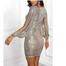 Women's Solid Dress Sparkle Glitzy Glam Sequin Tassel Long Sleeve Flapper Party Club sexy dress elegant vestidos mujer 2018 NEW