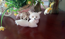simulation mini gaze afar fox model toy polyethylene & furs white fox 12x9cm hard model,home decoration gift t210