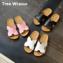 2019 Children Home Slippers New Hot Summer Boys Girls Rubber Sandals Beach Shoes Kids Casual Flats Leather For