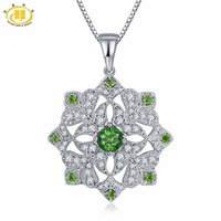 Hutang Clasic Solid 925 Sterling Silver 0 97ct Natural Gemstone Chrome Diopside Pendant Necklace Fine Jewelry