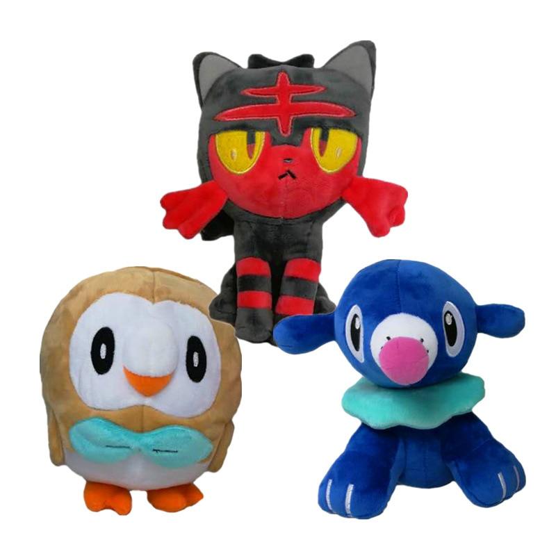 3pcs 18cm Cute Soft Cartoon Game Rowlet& Popplio& Litten Stuffed Animals Plush Toy kids Baby Christmas Gifts