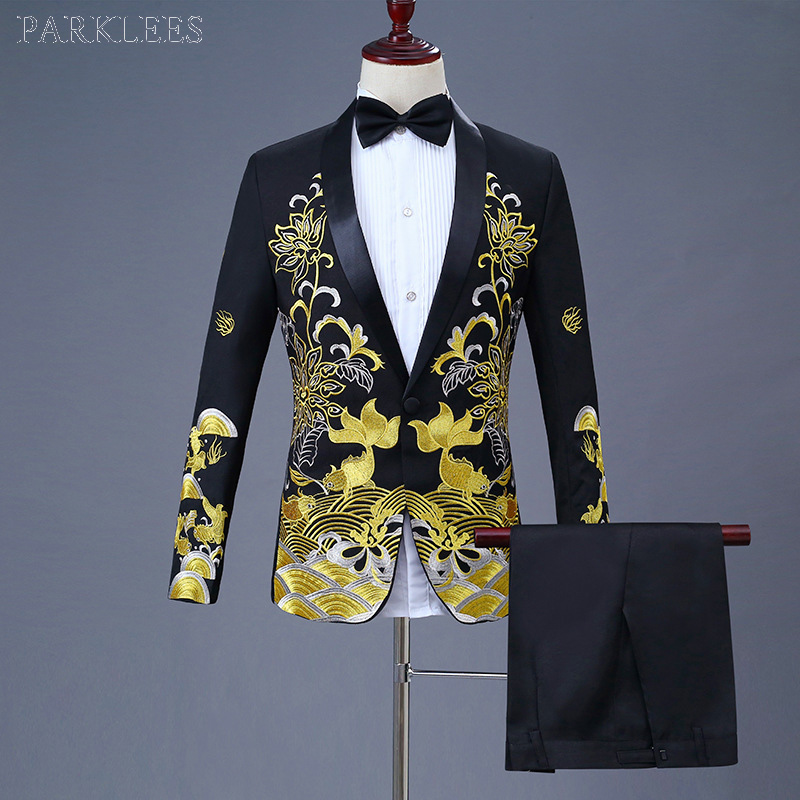 Luxury Gold Embroidery Black Suit Men Party Wedding Suits Men Shawl Collar Tuxedo Suit (Jacket+Pants) Stage Host Singer Clothes