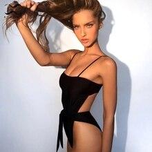 Deep V high cut one piece Ruffle push up one-piece string bikini