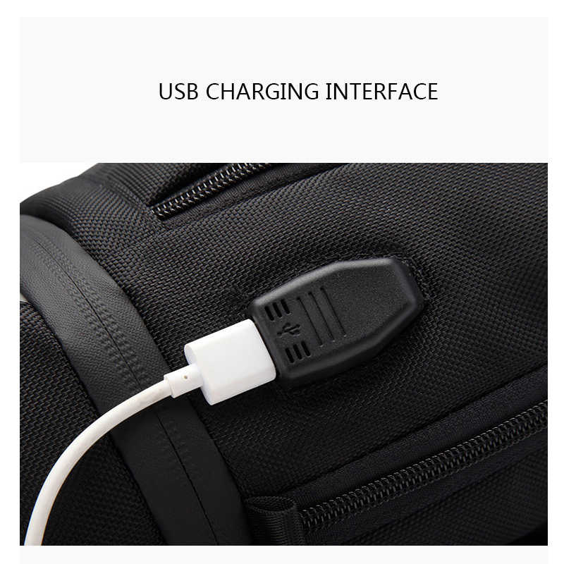 RUISHISABER New USB Charging Chest Packs Men Waterproof Anti-thief Crossbody Shoulder Bag Casual Travel Messenger Bags Male