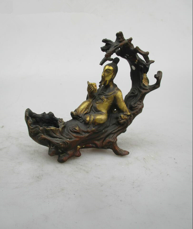 Asian Antique Old Copper Gilt Style Hand Carved Book God Statue/Rare Chinese Qing/Ming Dynasty Sculpture