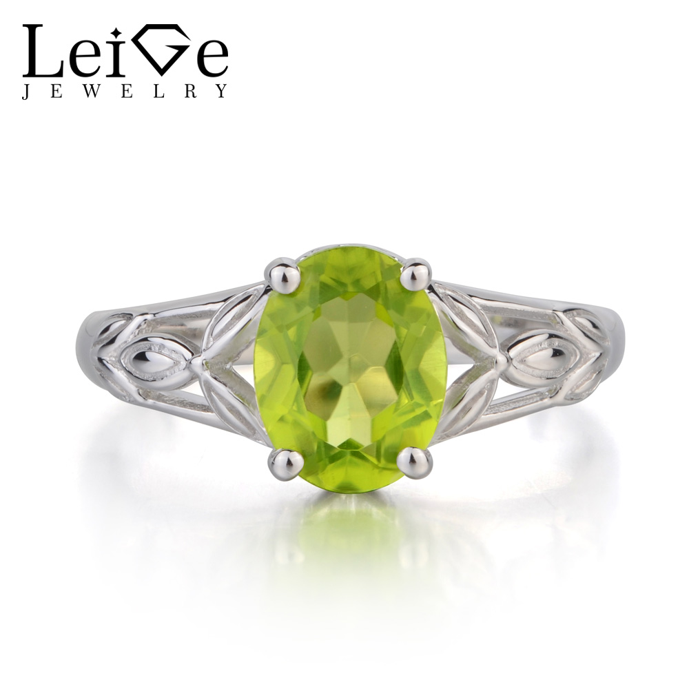 Leige Jewelry Natural Green Peridot Ring Oval Cut Ring Gemstone August Birthstone Anniversary Ring 925 Sterling Silver RingLeige Jewelry Natural Green Peridot Ring Oval Cut Ring Gemstone August Birthstone Anniversary Ring 925 Sterling Silver Ring