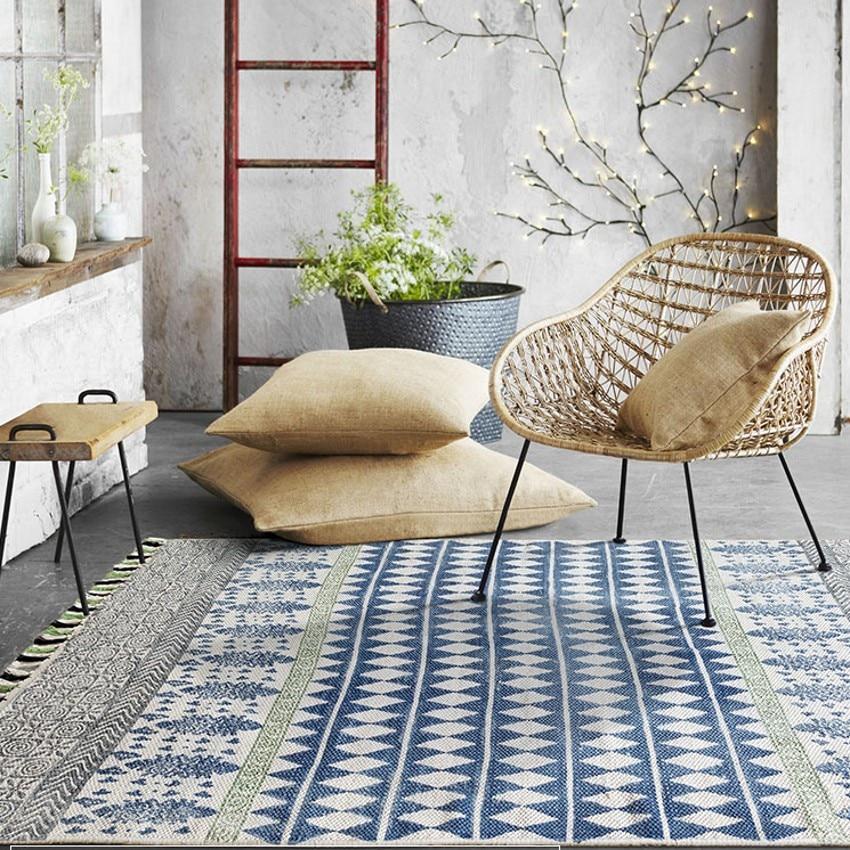 Tapis de chevet fait main en coton de style indien, tapis de table basse de salon rétro vintage, tapis de sol de décoration pastorale